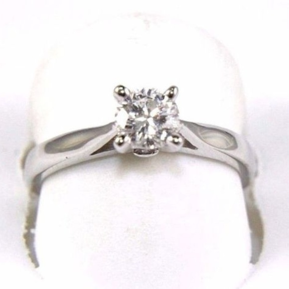 234e6c99a181a Round Diamond Solitaire Engagement Ring WG .57Ct Boutique